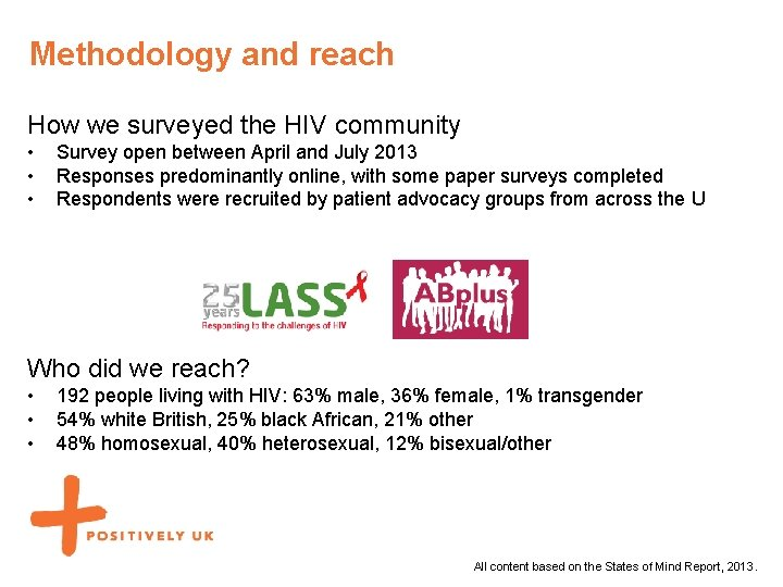 Methodology and reach How we surveyed the HIV community • • • Survey open