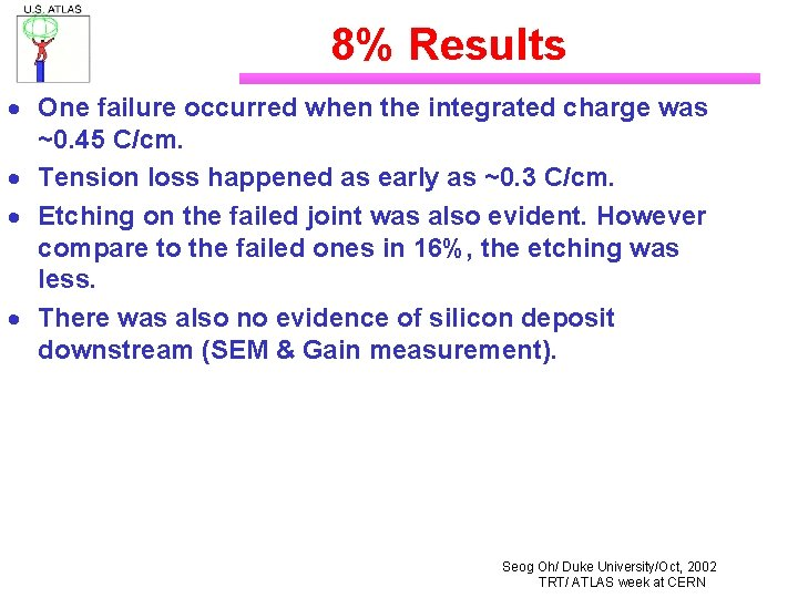 8% Results · One failure occurred when the integrated charge was ~0. 45 C/cm.