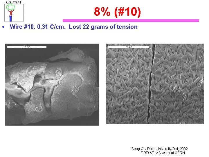 8% (#10) · Wire #10. 0. 31 C/cm. Lost 22 grams of tension Seog