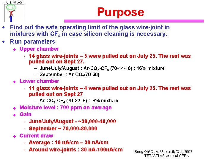 Purpose · Find out the safe operating limit of the glass wire-joint in mixtures