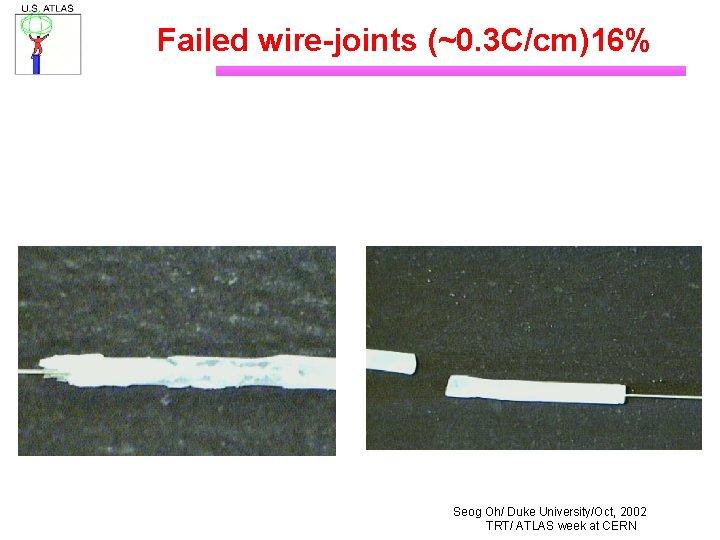 Failed wire-joints (~0. 3 C/cm)16% Seog Oh/ Duke University/Oct, 2002 TRT/ ATLAS week at