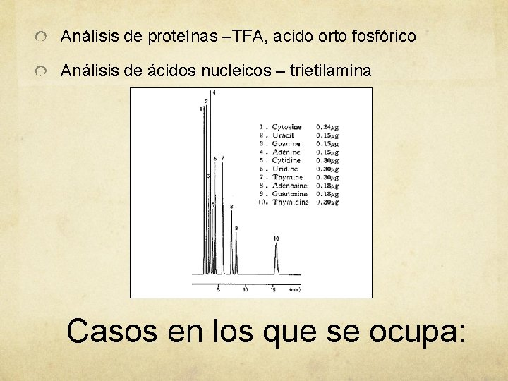 Análisis de proteínas –TFA, acido orto fosfórico Análisis de ácidos nucleicos – trietilamina Casos