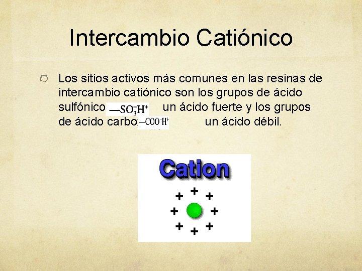 Intercambio Catiónico Los sitios activos más comunes en las resinas de intercambio catiónico son