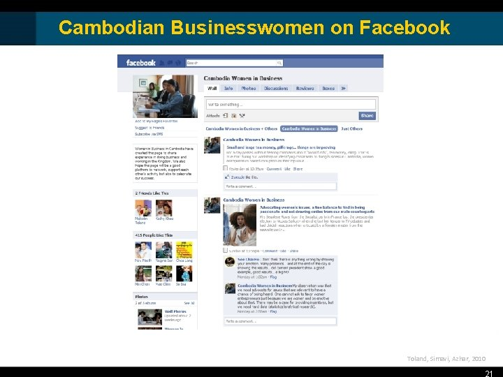 Cambodian Businesswomen on Facebook Toland, Simavi, Azhar, 2010 21
