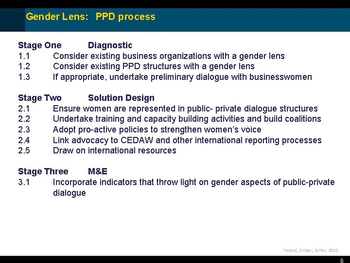Gender Lens: PPD process Stage One Diagnostic 1. 1 Consider existing business organizations with