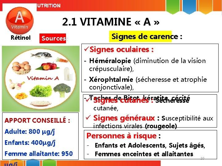 2. 1 VITAMINE « A » Rétinol Sources: Signes de carence : üSignes oculaires