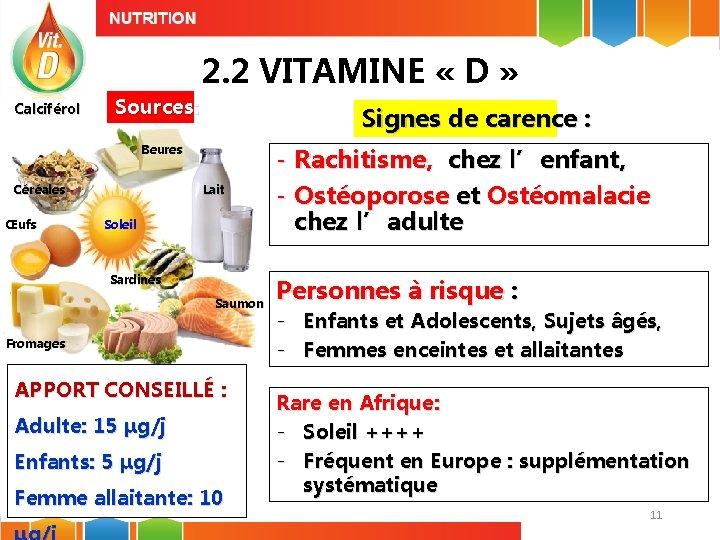 2. 2 VITAMINE « D » Calciférol Sources: Signes de carence : Beures Céréales