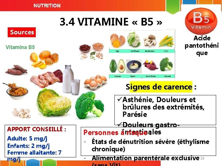 Sources : 3. 4 VITAMINE « B 5 » Acide pantothéni que Signes de