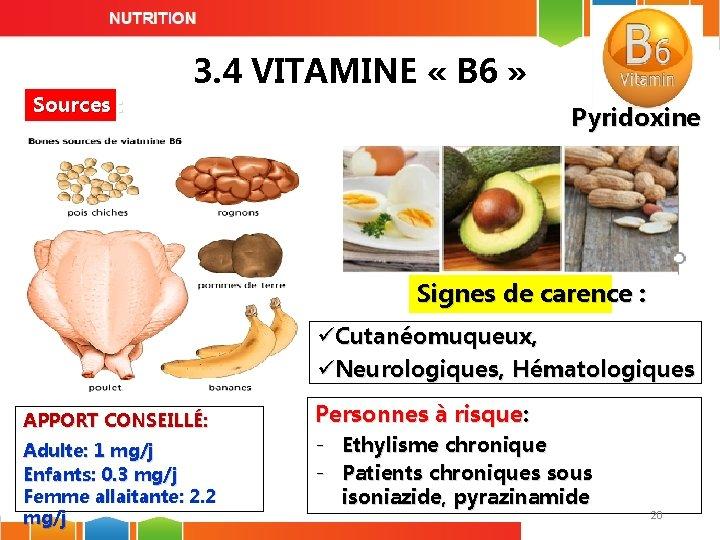 Sources : 3. 4 VITAMINE « B 6 » Pyridoxine Signes de carence :