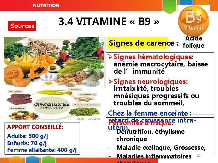 Sources : 3. 4 VITAMINE « B 9 » Signes de carence : APPORT