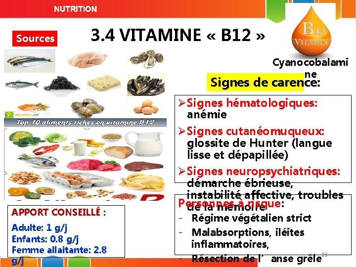 Sources : 3. 4 VITAMINE « B 12 » Cyanocobalami ne Signes de carence: