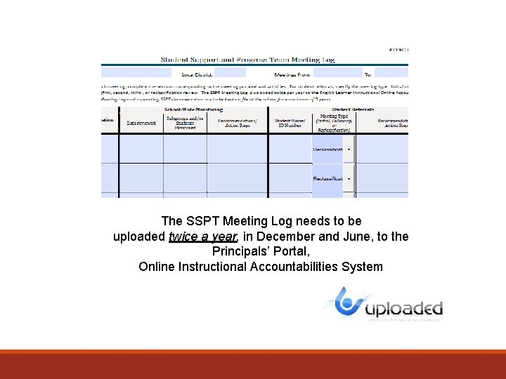 The SSPT Meeting Log needs to be uploaded twice a year, in December and
