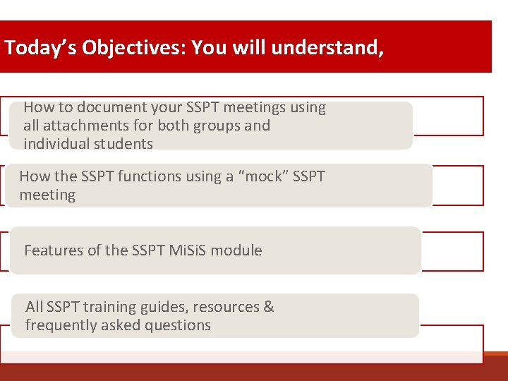 Today's Objectives: You will understand, How to document your SSPT meetings using all attachments