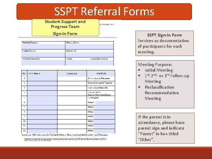 SSPT Referral Forms Student Support and Progress Team Sign-In Form SSPT Sign-In Form Services