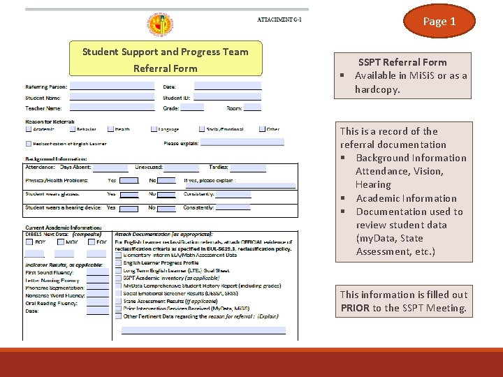 Page 1 Student Support and Progress Team Referral Form SSPT Referral Form § Available