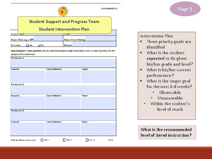 Page 1 Student Support and Progress Team Student Intervention Plan § Three priority goals