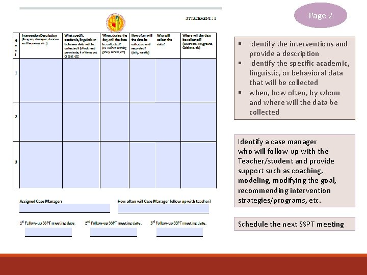 Page 2 § Identify the interventions and provide a description § Identify the specific