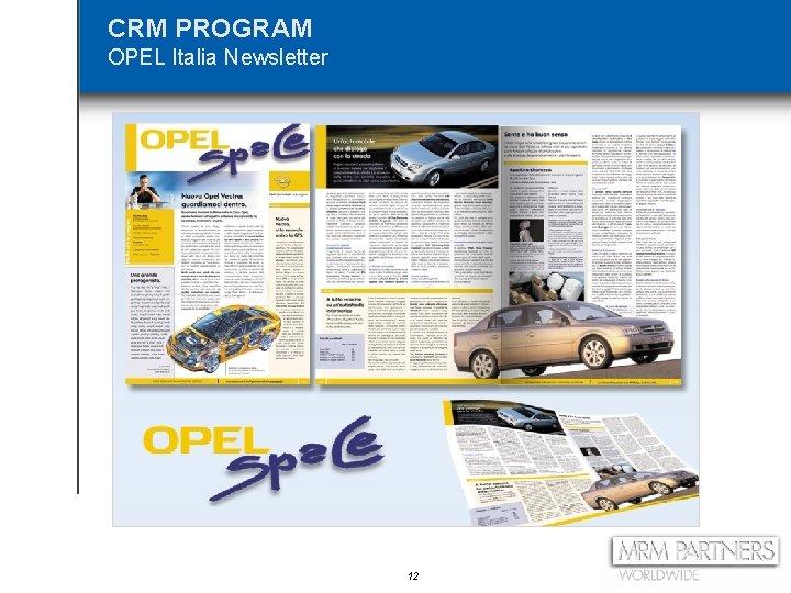 CRM PROGRAM OPEL Italia Newsletter 12