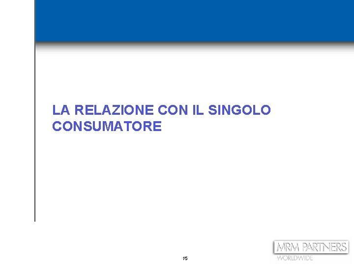 LA RELAZIONE CON IL SINGOLO CONSUMATORE 15