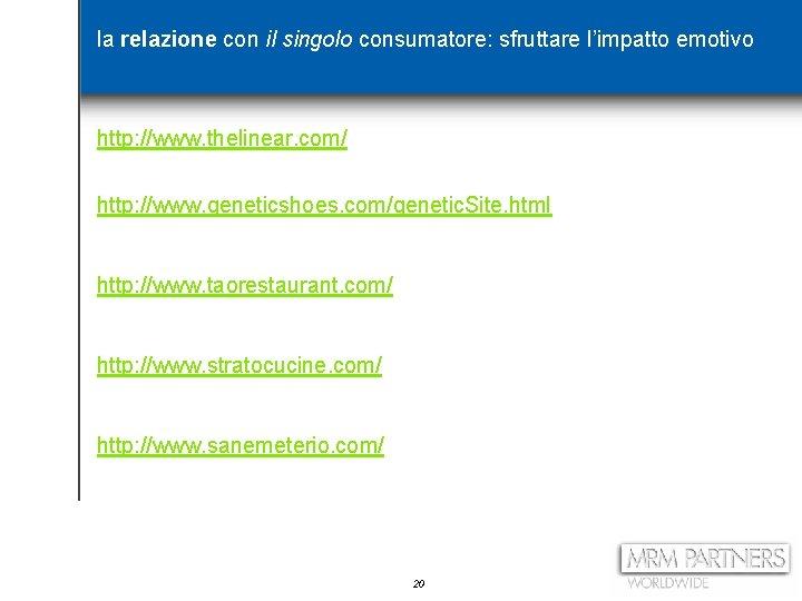 la relazione con il singolo consumatore: sfruttare l'impatto emotivo http: //www. thelinear. com/ http: