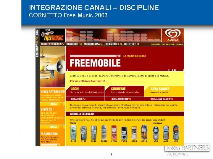 INTEGRAZIONE CANALI – DISCIPLINE CORNETTO Free Music 2003 3