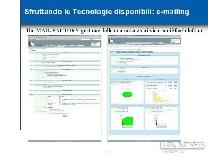 Sfruttando le Tecnologie disponibili: e-mailing The MAIL FACTORY: gestione delle comunicazioni via e-mail/fax/telefono 4