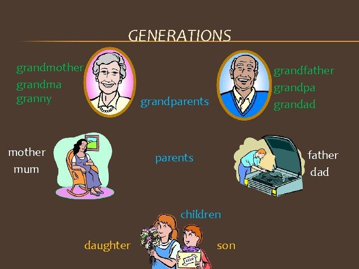 GENERATIONS grandmother grandma granny grandfather grandpa grandad grandparents mother mum father dad parents children