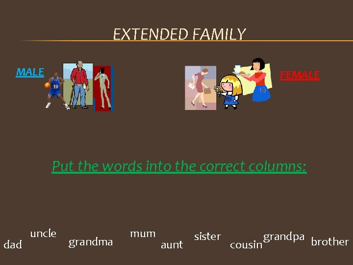 EXTENDED FAMILY MALE FEMALE Put the words into the correct columns: dad uncle grandma