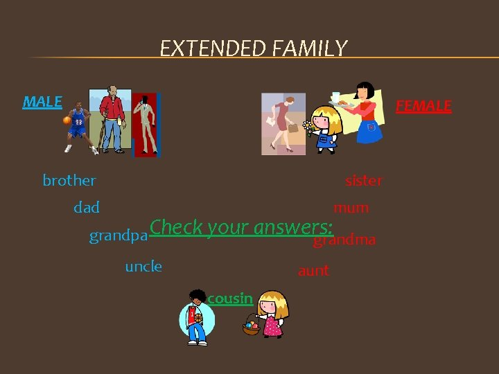 EXTENDED FAMILY MALE FEMALE brother sister dad mum grandpa Check your answers: grandma uncle