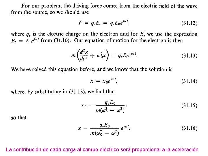 La contribución de cada carga al campo eléctrico será proporcional a la aceleración