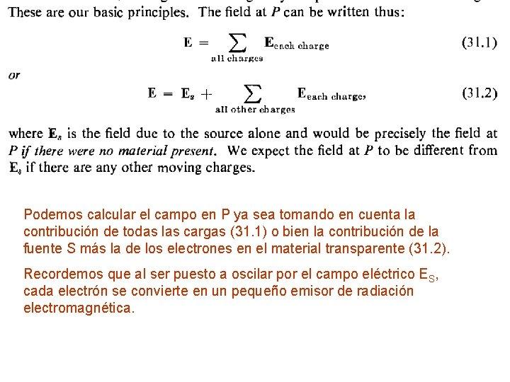 Podemos calcular el campo en P ya sea tomando en cuenta la contribución de