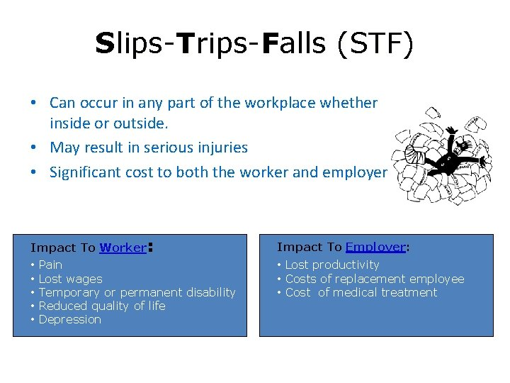 Slips-Trips-Falls (STF) • Can occur in any part of the workplace whether inside or