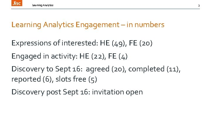Learning Analytics Engagement – in numbers Expressions of interested: HE (49), FE (20) Engaged
