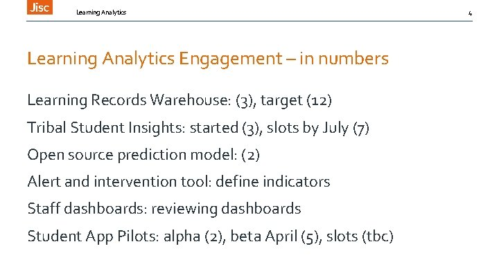 Learning Analytics Engagement – in numbers Learning Records Warehouse: (3), target (12) Tribal Student
