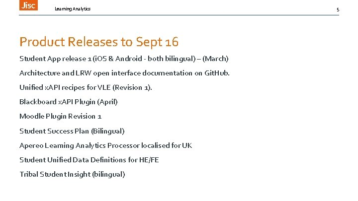 Learning Analytics Product Releases to Sept 16 Student App release 1 (i. OS &