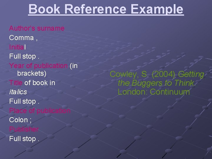 Book Reference Example Author's surname Comma , Initial Full stop. Year of publication (in