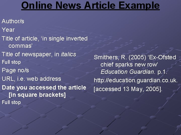 Online News Article Example Author/s Year Title of article, 'in single inverted commas' Title