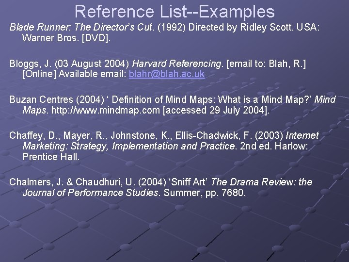 Reference List--Examples Blade Runner: The Director's Cut. (1992) Directed by Ridley Scott. USA: Warner