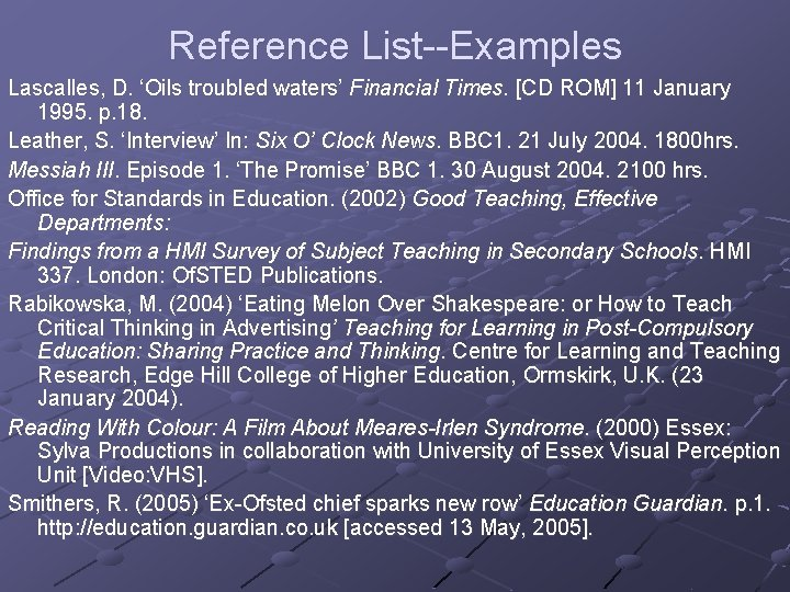 Reference List--Examples Lascalles, D. 'Oils troubled waters' Financial Times. [CD ROM] 11 January 1995.