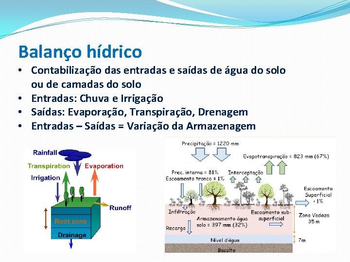 Balanço hídrico • Contabilização das entradas e saídas de água do solo ou de