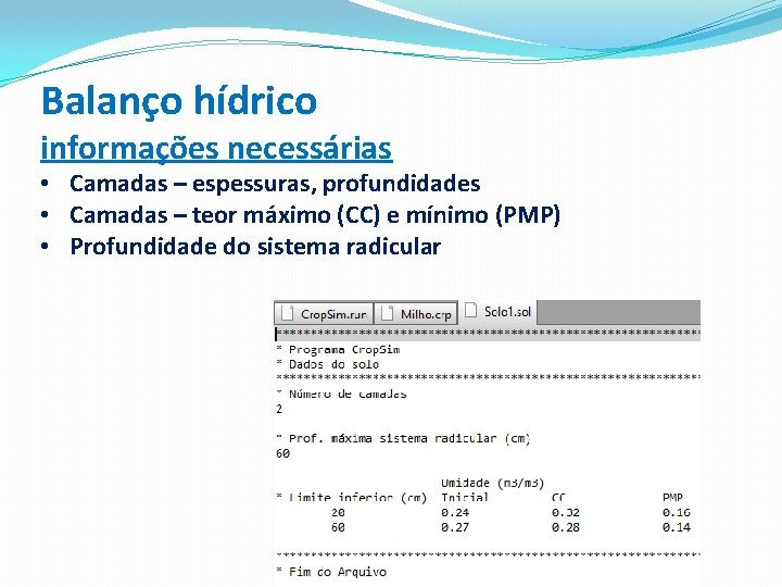 Balanço hídrico informações necessárias • Camadas – espessuras, profundidades • Camadas – teor máximo
