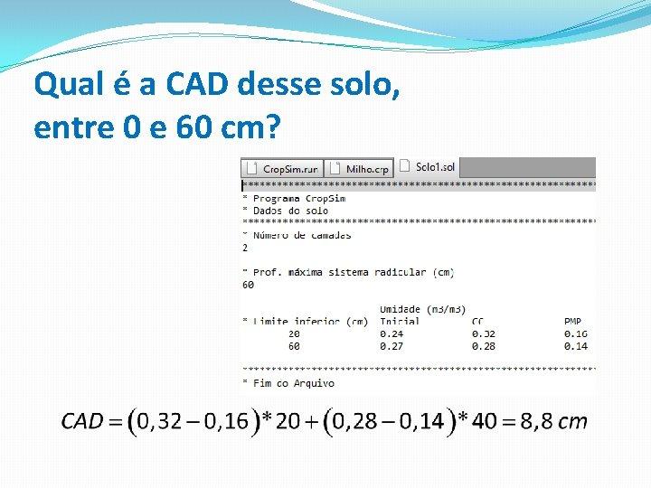 Qual é a CAD desse solo, entre 0 e 60 cm?