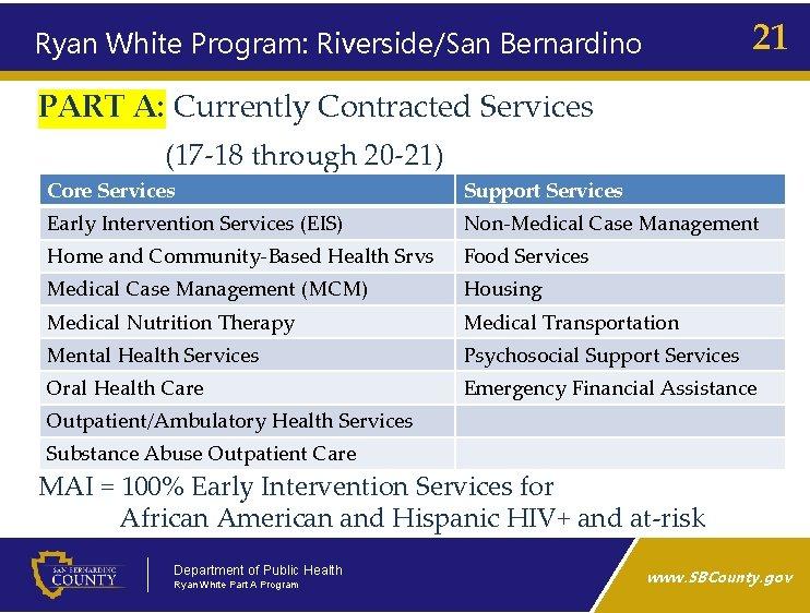 21 Ryan White Program: Riverside/San Bernardino PART A: Currently Contracted Services (17‑ 18 through
