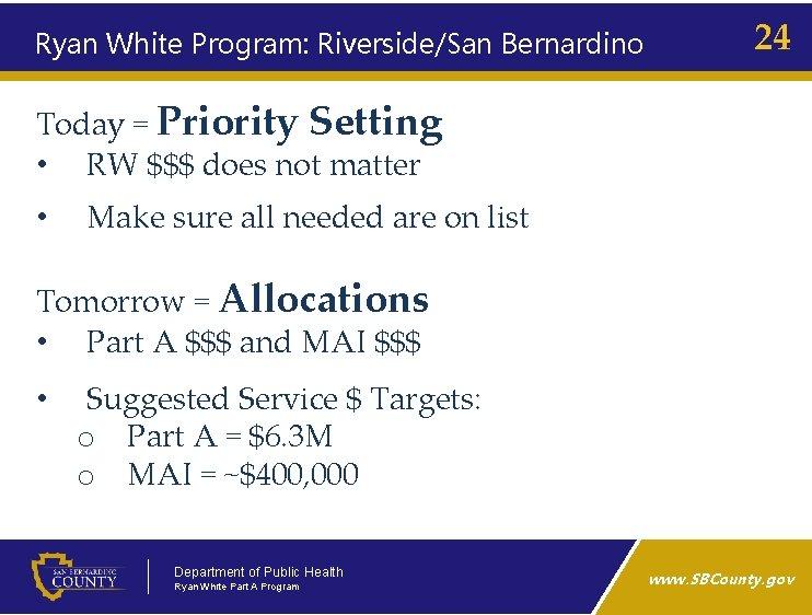 Ryan White Program: Riverside/San Bernardino 24 Today = Priority Setting • RW $$$ does