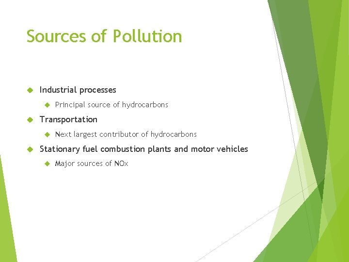 Sources of Pollution Industrial processes Transportation Principal source of hydrocarbons Next largest contributor of