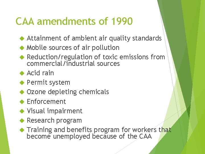CAA amendments of 1990 Attainment of ambient air quality standards Mobile sources of air