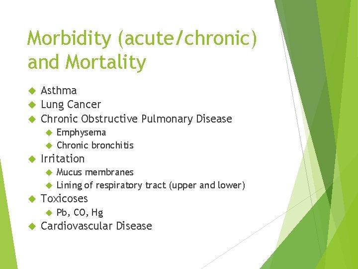 Morbidity (acute/chronic) and Mortality Asthma Lung Cancer Chronic Obstructive Pulmonary Disease Emphysema Chronic bronchitis
