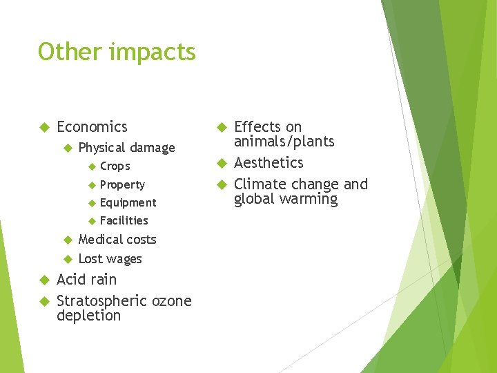 Other impacts Economics Physical damage Crops Property Equipment Facilities Medical costs Lost wages Acid