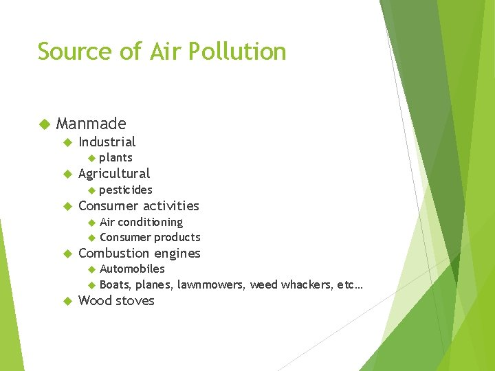 Source of Air Pollution Manmade Industrial plants Agricultural pesticides Consumer activities Air conditioning Consumer