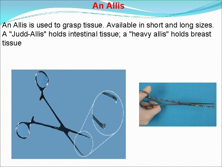 An Allis is used to grasp tissue. Available in short and long sizes. A